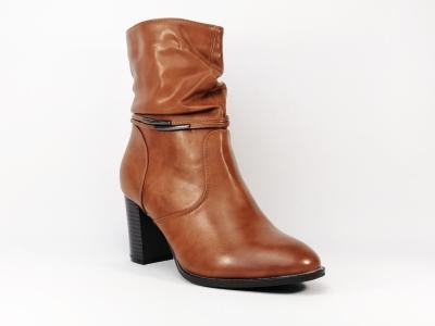 Botte à talon en simili cuir camel CHIC SHOES chc132 pour femme
