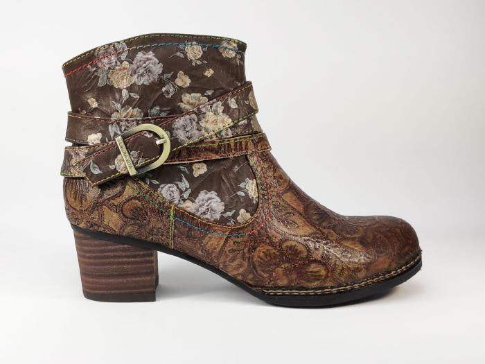 Bottine originale LAURA VITA Alcexiao 14 en cuir marron à talon pour femme