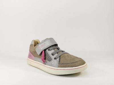 Basket de ville fillette en cuir gris destockage KICKERS Lypster