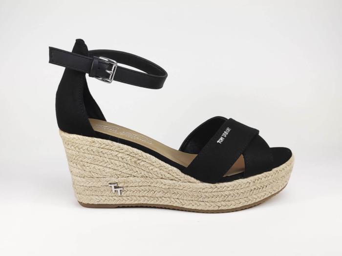 Sandale compensée chic TOM TAILOR noire pour femme