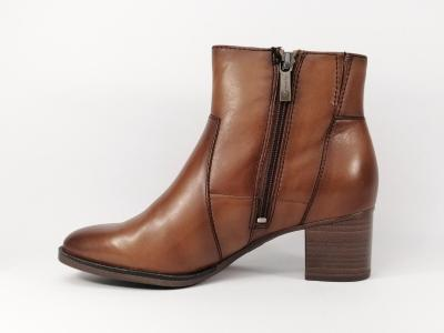 Bottine femme tendance en cuir camel nut à talon TAMARIS 25342