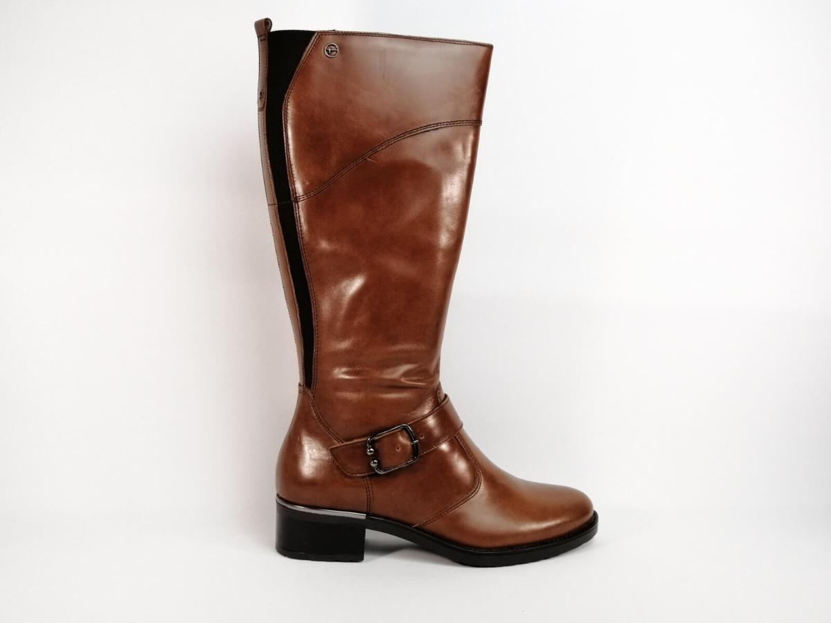 Botte en cuir marron TAMARIS | Pointure Plus