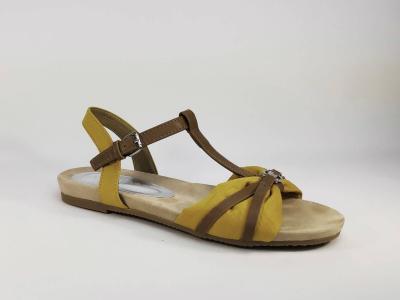 Sandale Compensée Cuir Jaune Talon Fermé TAMARIS P+