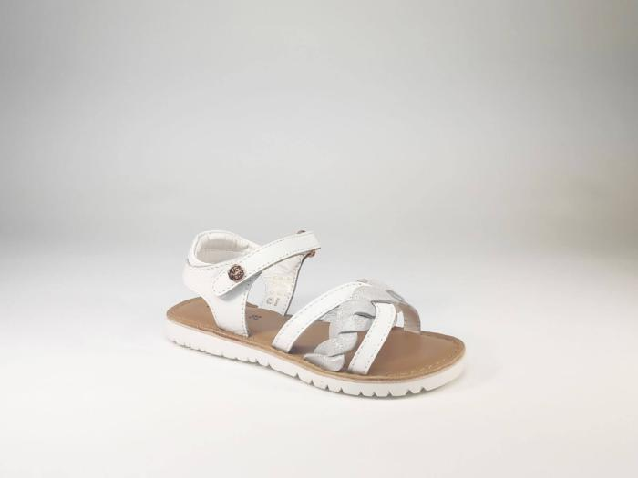 Sandale fillette cuir blanc et argent à scratch en destockage KICKERS Betty